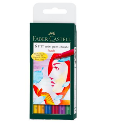6 Pitt Artist Pens Brush Basic