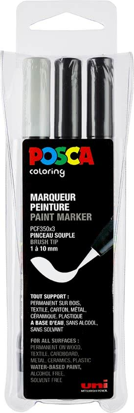 Posca Set PCF-350 Zwart, Zwart, Wit