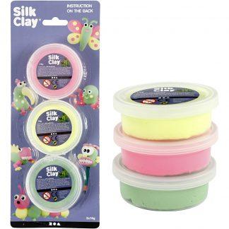 Silk Clay® Lichtgroen, Neon Geel, Neon Roze